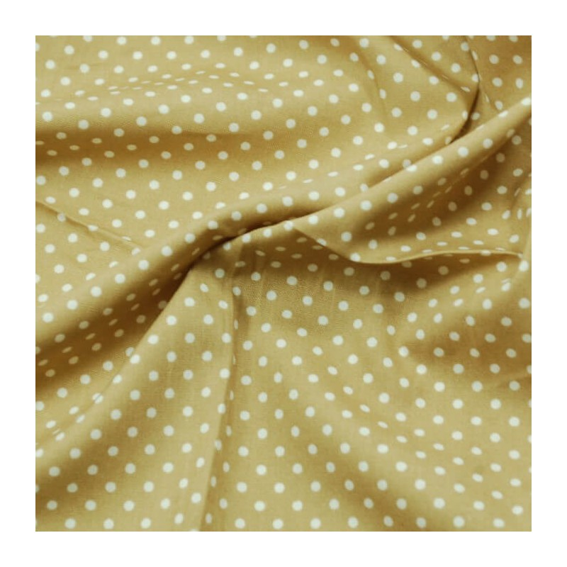 Tan 3mm Spots Polka Dots Various Colours 100% Cotton Poplin Fabric