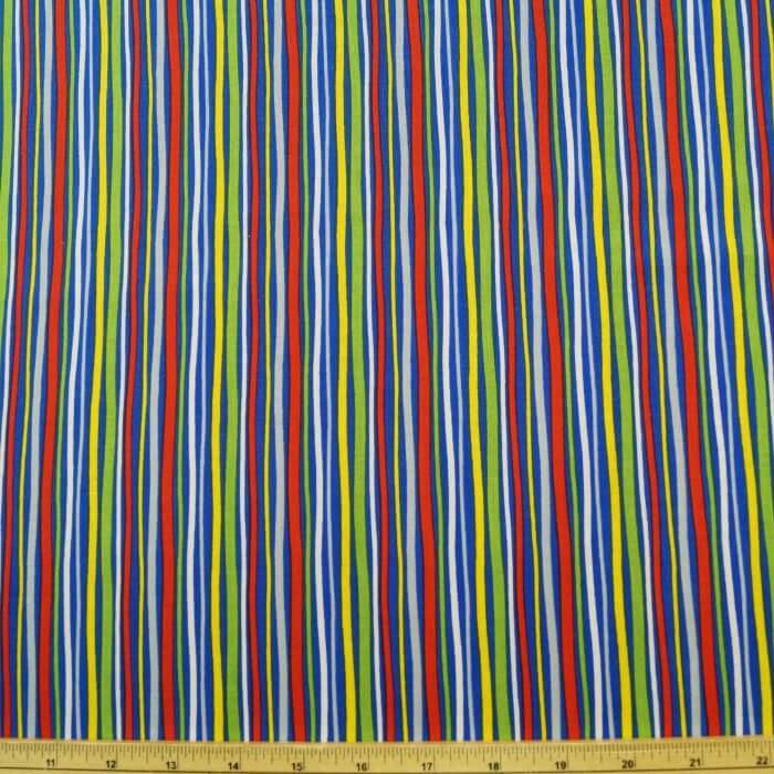 Treasure Island Multi Colour Stripes 100% Cotton Fabric