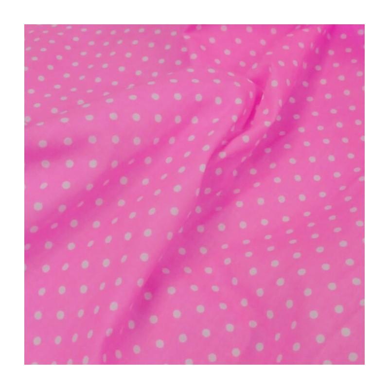 Polycotton Fabric 4mm Spots Polka Dots Spotty Craft Dress Pink