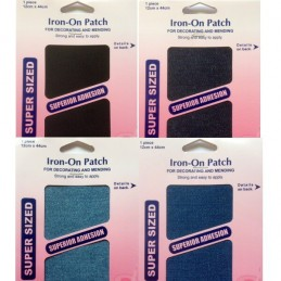 Hemline 12 x 44cm Large Denim Mending Patch Iron On Repair or Sew On