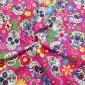100% Cotton Poplin Fabric Rose & Hubble Sugar Skulls Day Of The Dead Cerise