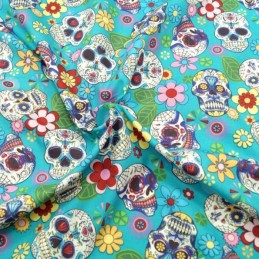 100% Cotton Poplin Fabric Rose & Hubble Sugar Skulls Day Of The Dead Turquoise