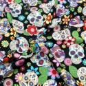 100% Cotton Poplin Fabric Rose & Hubble Sugar Skulls Day Of The Dead Black