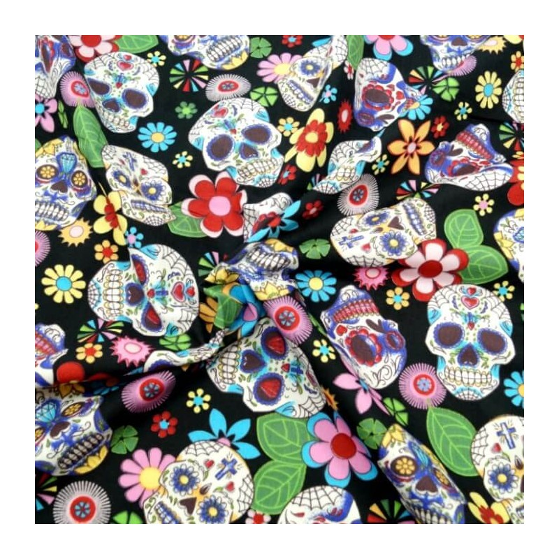 100% Cotton Poplin Fabric Rose & Hubble Sugar Skulls Day Of The Dead Black