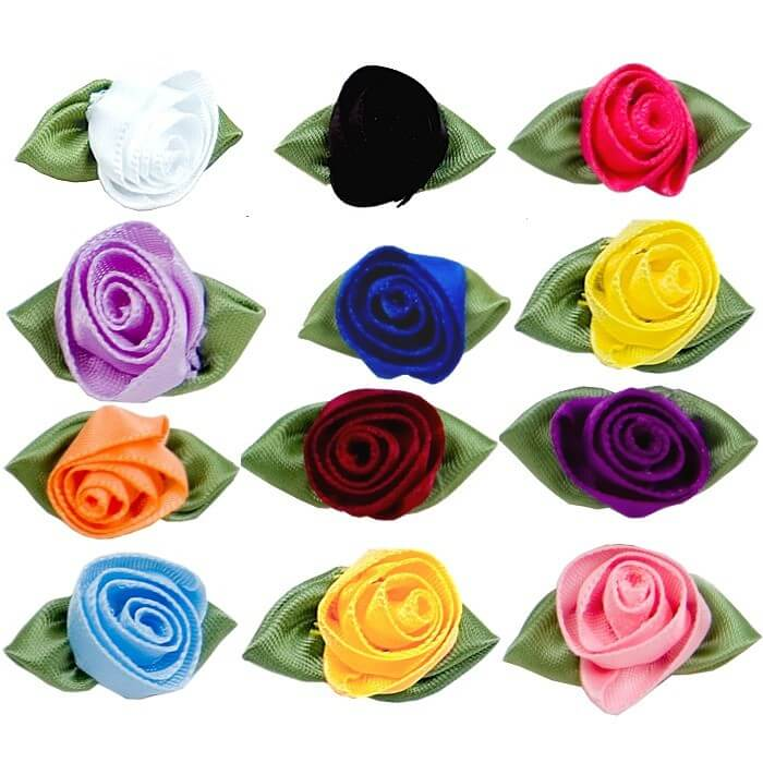 Large Ribbon Rose With Green Leaves In 30 Colours