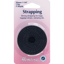 Multi Purpose 1.5m Hemline Strapping: Black - 32mm