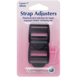 Hemline Adjustable Strap Buckle Clip Black - 25mm