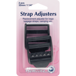 Hemline Adjustable Strap Buckle Clip Black - 32mm