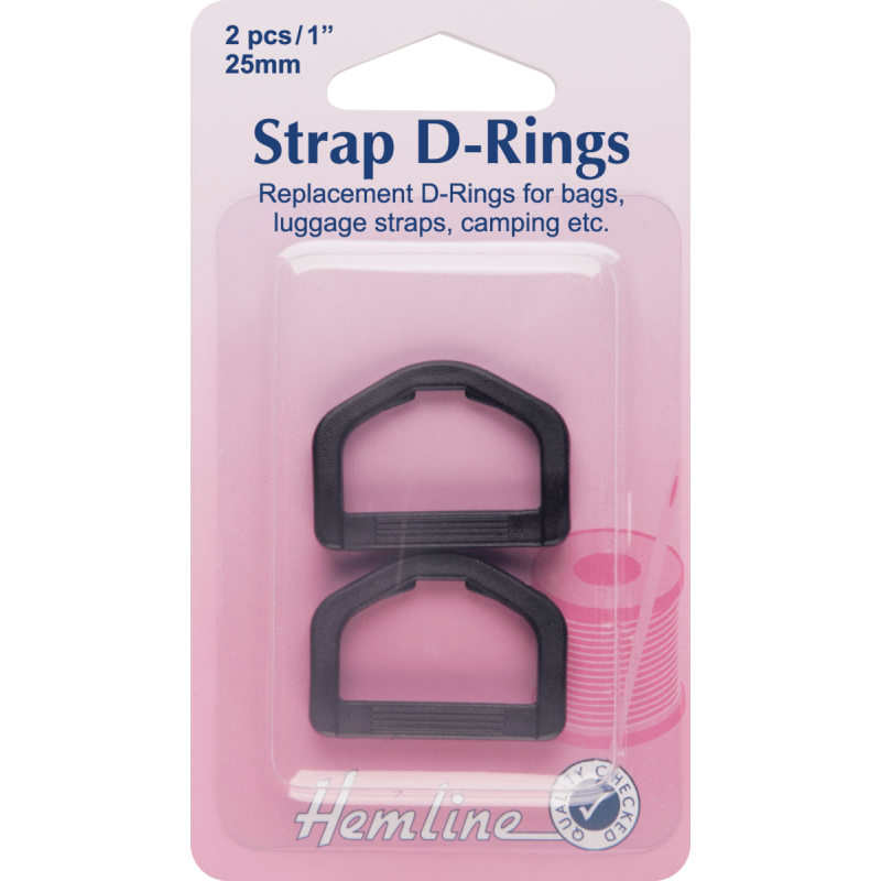 Hemline Replacement D-Rings Clip Black - 25mm
