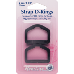 Hemline Replacement D-Rings Clip Black - 32mm
