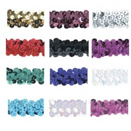 2cm Shiny Craft Stretch Sequins 1 Metre Length Trimits