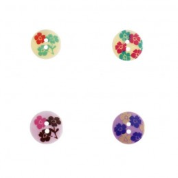 5 x Printed Flowers Lignes Buttons 18mm