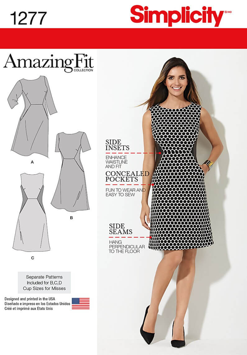 Miss and Plus Amazing Fit Dress Simplicity Fabric Sewing Pattern 1277
