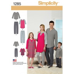 Family Loungewear Simplicity Fabric Sewing Patterns 1285