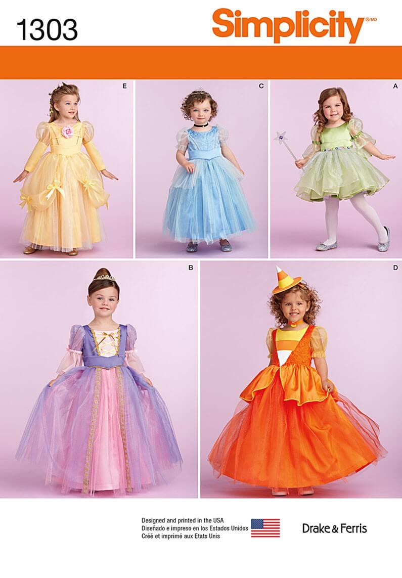Toddlers' and Child's Costumes Fabric Sewing Patterns 1303