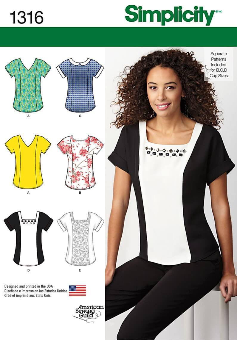 Misses' Top with Neckline Variations Simplicity Sewing Patterns 1316