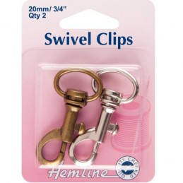 Hemline 20mm x 2 Pack Swivel Clip In Bronze And Silver Strap Cord Ribbon