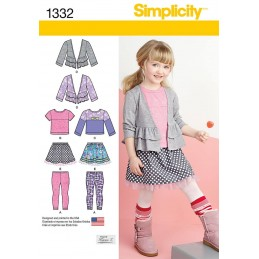 Child's Skirt, Leggings & Cardigan Simplicity Fabric Sewing Pattern 1332