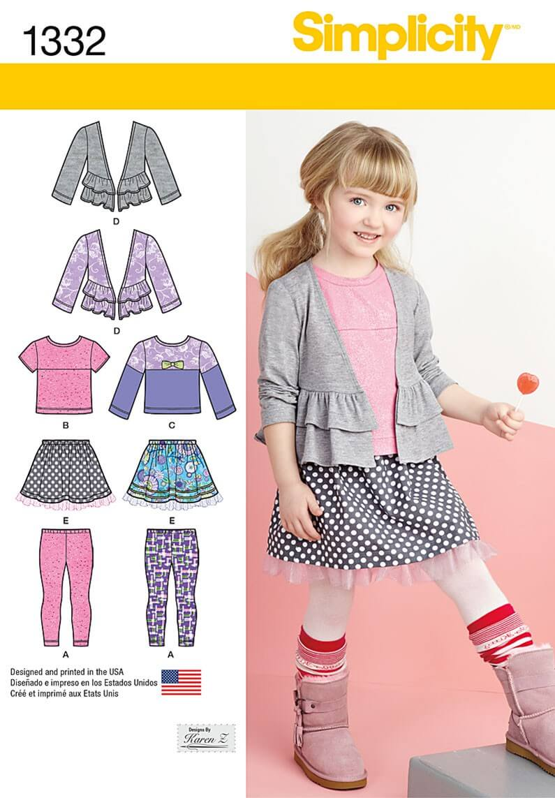 Toddlers' Dress and Bolero Simplicity Fabric Sewing Pattern 1331