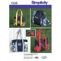 Tote Bags, Backpack & Coin Purse Simplicity Sewing Patterns 1338