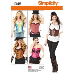 Misses' Corsets and Ruffled Shrug Costumes Simplicity Sewing Patterns 1345