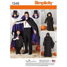 Boys' and Men's Dracula Halloween Capes Simplicity Fabric Sewing Pattern 1349