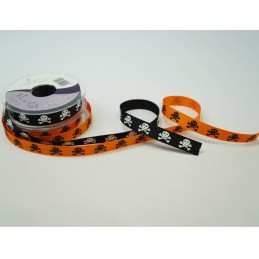 2 Metre Length Berisfords 15mm Skulls & Crossbones Halloween Ribbon
