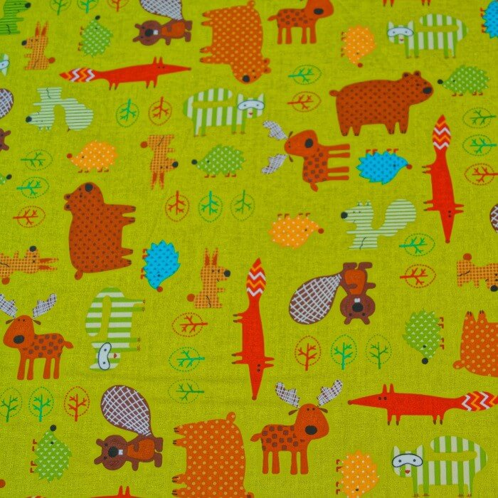 Forest Friends Trees & Animals Beaver Fox Squirrel Rabbit 100% Cotton Fabric