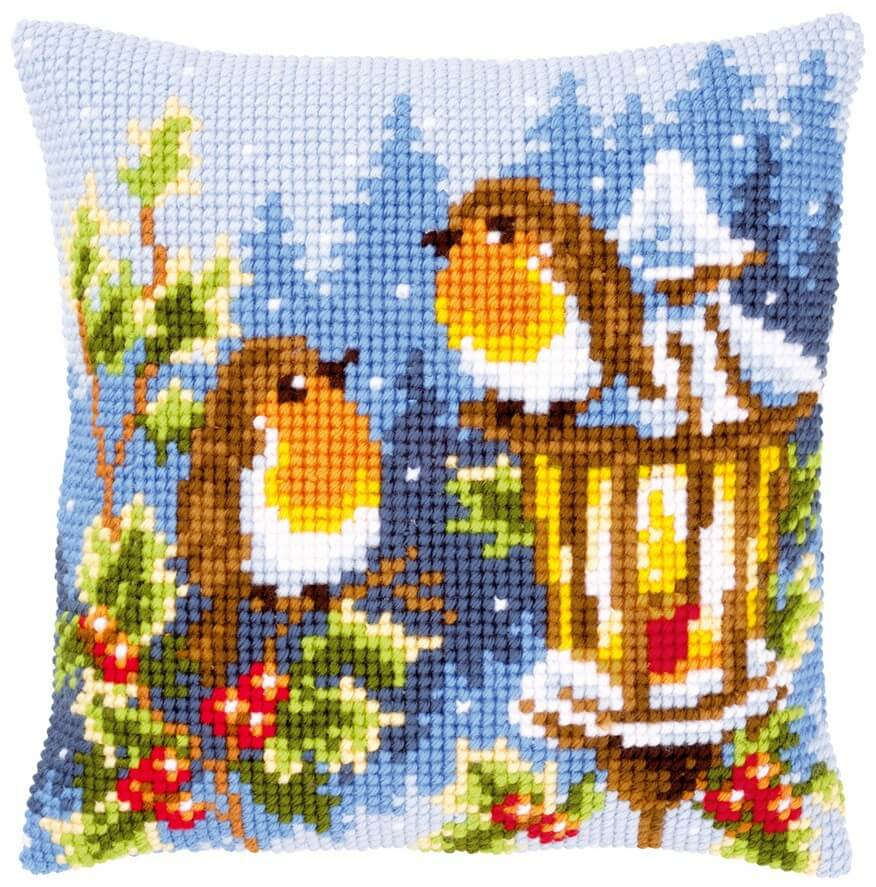 Printed Cross Stitch Cushion: Robins at The Christmas Lantern