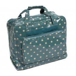Navy Spots HobbyGift Value Vinyl PVC Sewing Machine Storage Bag