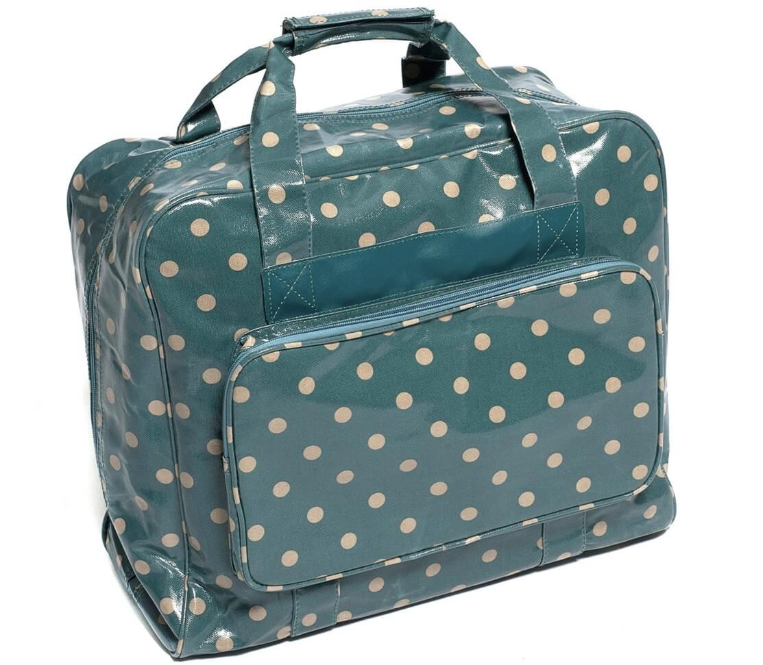 Navy Spots HobbyGift Value Vinyl PVC Sewing Machine Storage Bag