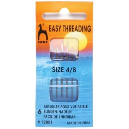 Pony Easy Thread Gold Eye Needles Size 4-8 Pack Craft Sewing Knitting