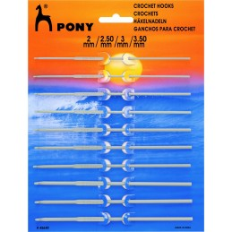 15cm Pony 10 Assorted Sizes Aluminium Crochet Hooks 2mm - 3.5mm