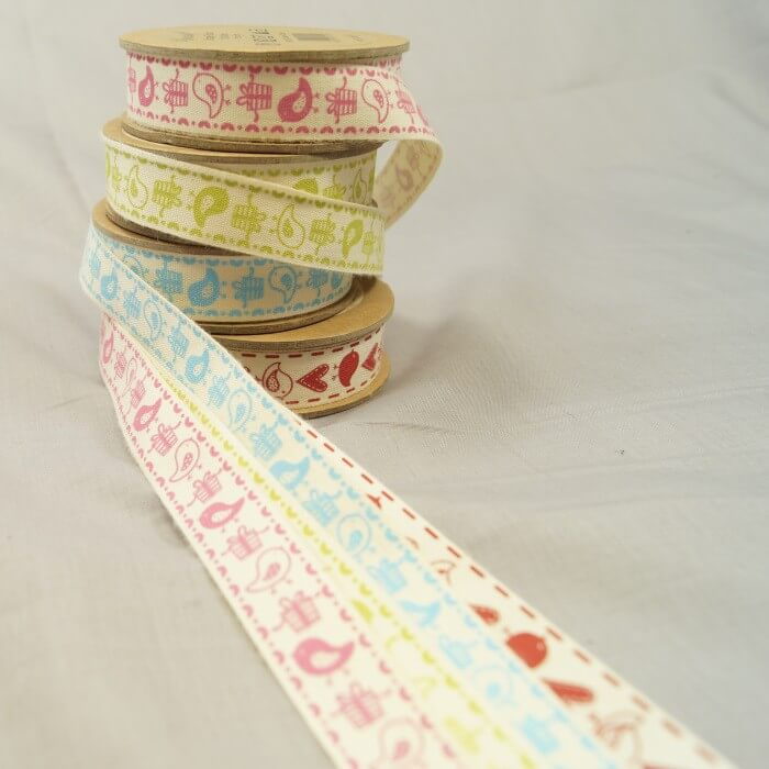 Bowtique Natural Vintage Cotton Birds Gifts Ribbon 15mm x 5m Reel