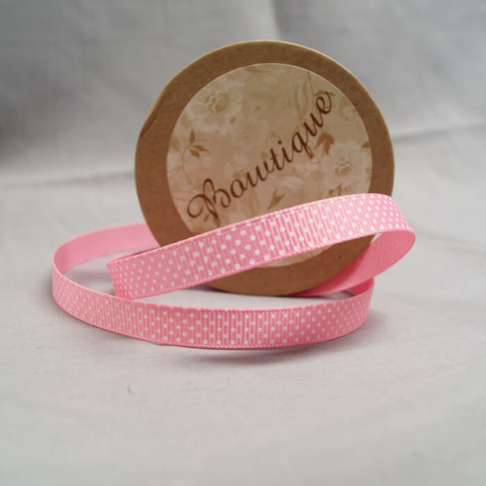 Bowtique Grosgrain Pink Polka Dot Spot Ribbon 5mm x 5m Reel