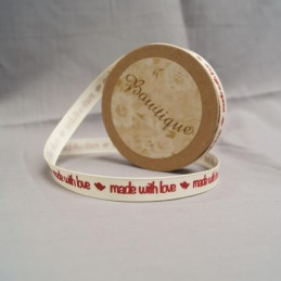 Bowtique Grosgrain Made With Love Ribbon 10mm x 5m Reel