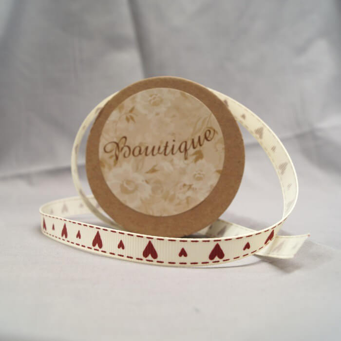Bowtique Grosgrain Stitch Love Hearts Ribbon 5mm x 5m Reel