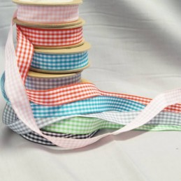 Bowtique Vintage Ginham Check Ribbon 15mm x 5m Reel