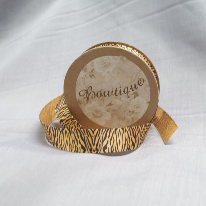 Bowtique Vintage Zebra Tiger Print Satin Ribbon 15mm x 5m Reel