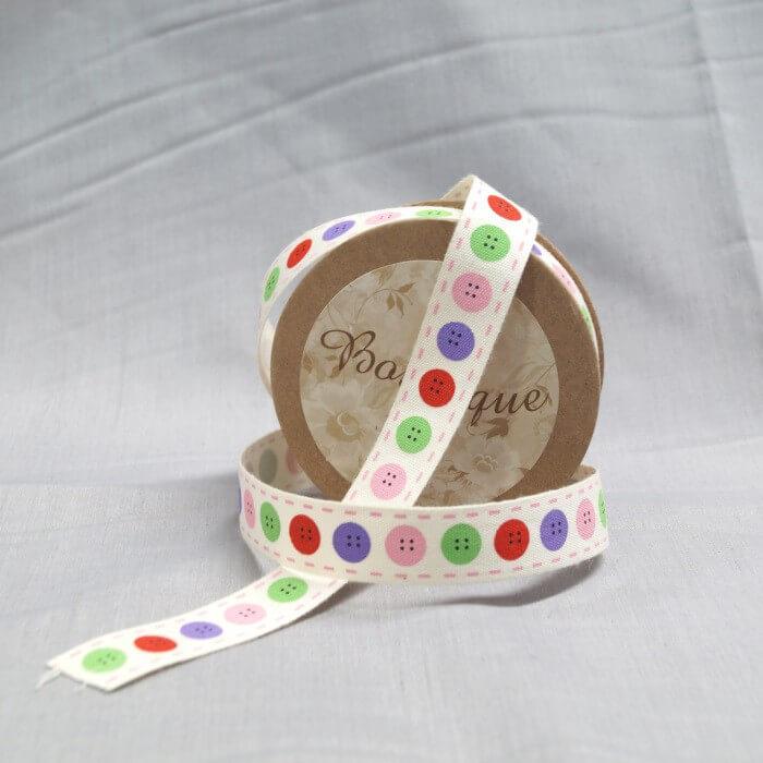 Bowtique Natural Vintage Cotton Button Stitch Ribbon 15mm x 5m Reel