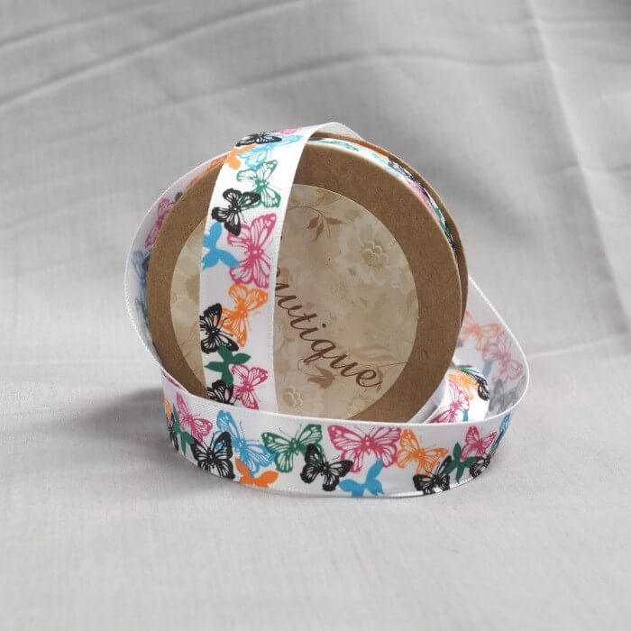 Bowtique Vintage Butterfly Satin Ribbon 15mm x 5m Reel