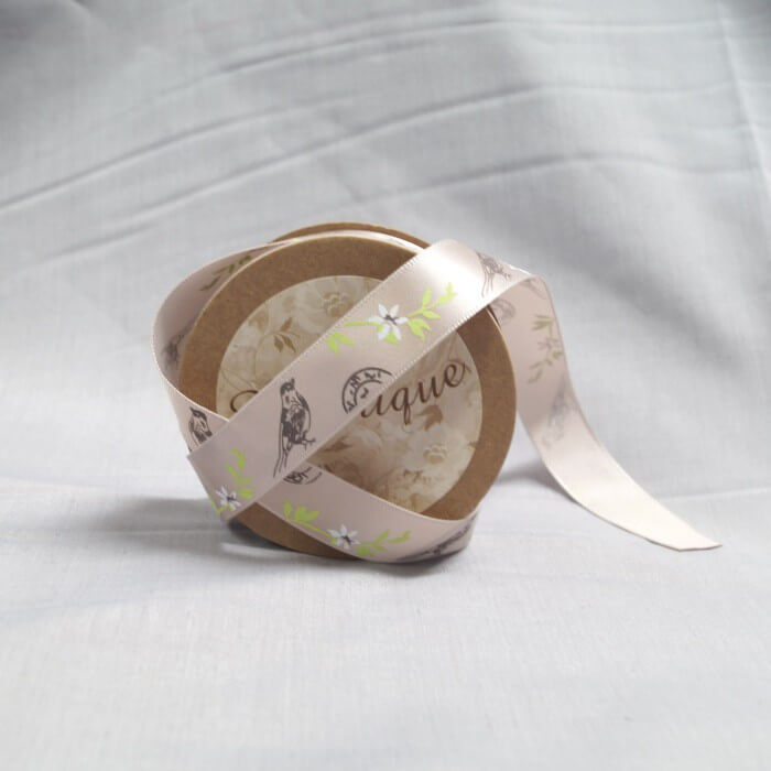 Bowtique Vintage Birds Stamps Satin Ribbon 15mm x 5m Reel