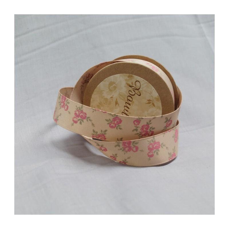 Bowtique Grosgrain Rose Heads Floral Ribbon 22mm x 5m Reel