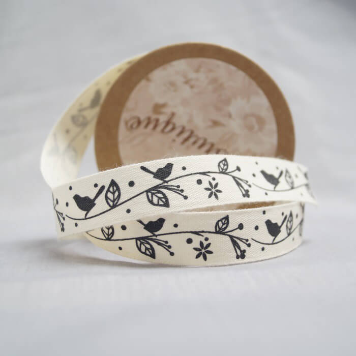 Bowtique Natural Cotton Branch Birds Brown Ribbon 15mm x 5m Reel