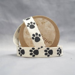 15mm x 5m Bowtique Natural Cotton Puppy Paws Ribbon Reel