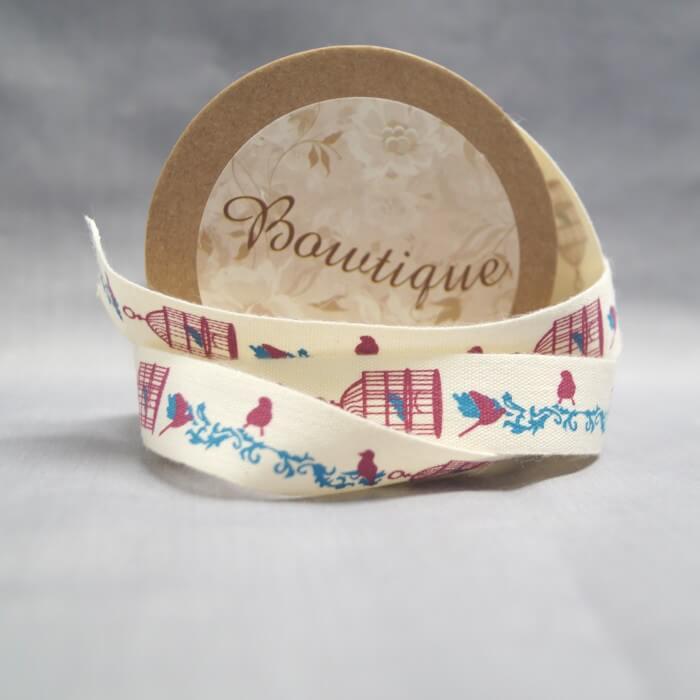 Bowtique Natural Cotton Brid Cage Ribbon 15mm x 5m Reel