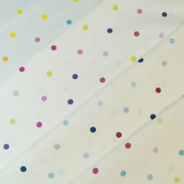 100% Cotton Fabric Lifestyle 10mm Multi Spots Polka Dots (140cm Wide)
