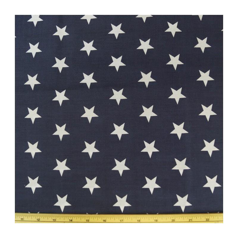 Navy Polycotton Fabric 27mm Stars