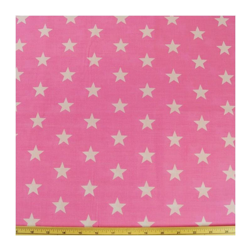 Pink Polycotton Fabric 27mm Stars