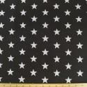 Black Polycotton Fabric 27mm Stars